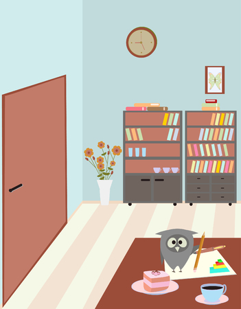 teachers room and owl Vector