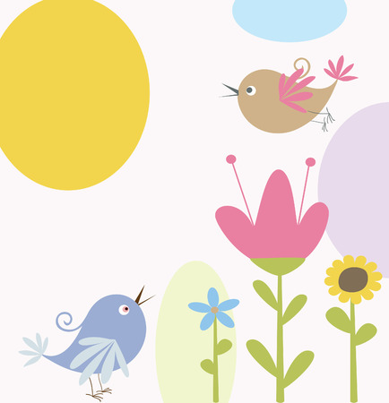 cute flowers and birds Illustration