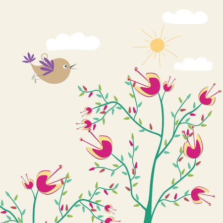 cute flowers and bird Vector