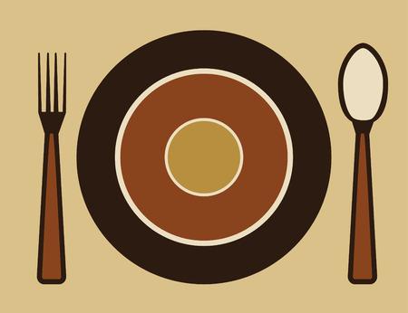 dinner setting: placa, tenedor y cuchara
