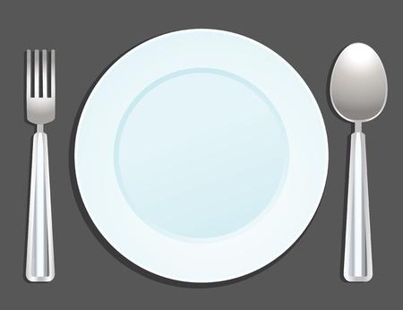 fine cuisine: piastra, forchetta e cucchiaio  Vettoriali