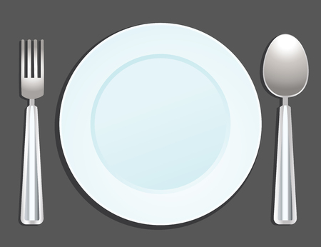 plate, fork and spoon Vector