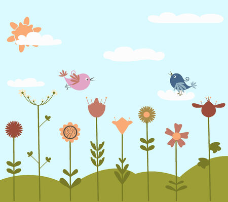 cute flowers and birds Vector