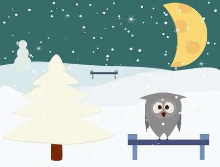 Owl in winter night Vector