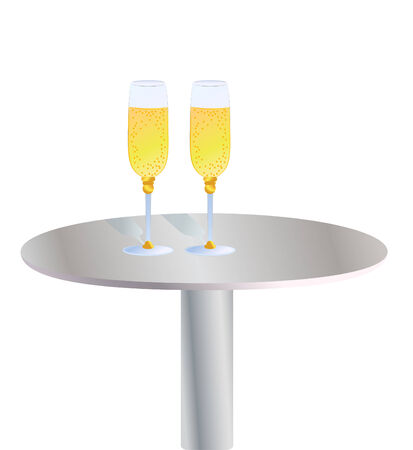 bocal: Glasses of champagne on the table Illustration
