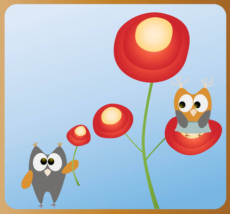 owls and flowers Vector