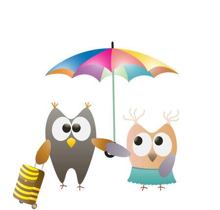 owls and umbrella Vector