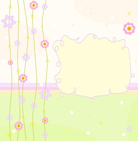 baby arrival announcement with flowers Vector