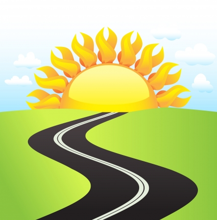 road in sunny day  Stock Vector - 10384302