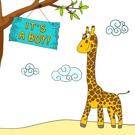 giraffe and boy arrival message Illustration