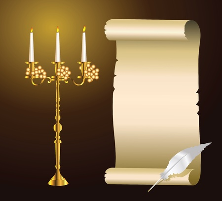 vintage candlestick and old paper Vector