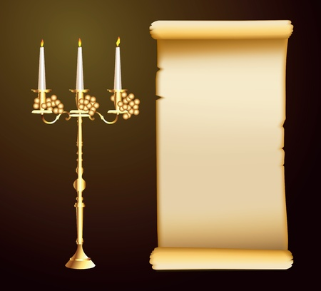 vintage candlestick and old paper