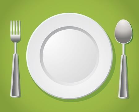 settings: witte plaat met zilveren lepel en vork Stock Illustratie