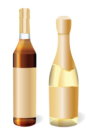 cognac: bottle with cognac and bottle of champagne Illustration