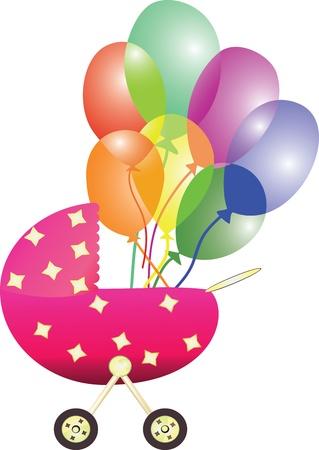 ilustración de cochecito de bebé con los globos