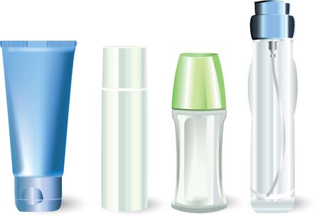 cosmetics collection: bottles of cosmetic products  Illustration