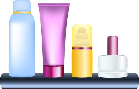 illustration of bottles of cosmetic products