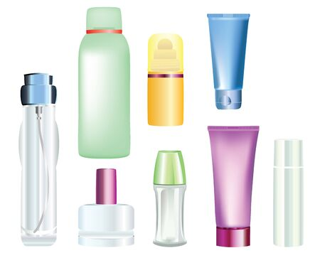 spray bottle: bottles of cosmetic products  Illustration
