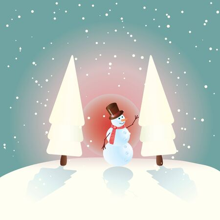 illustration of winter background with snowman Vector