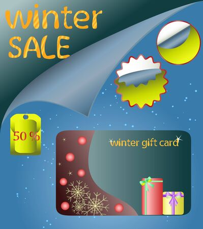 holliday: illustration of stickers and gift card Illustration