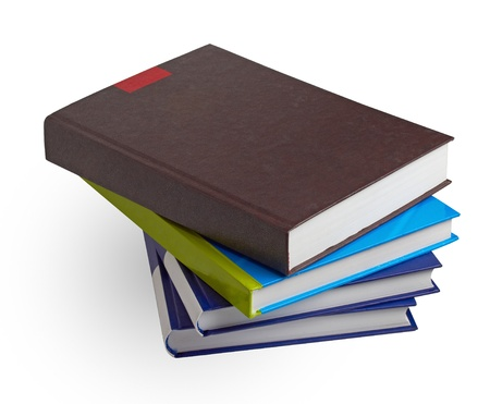 high school series: stack of books isolated on white Stock Photo