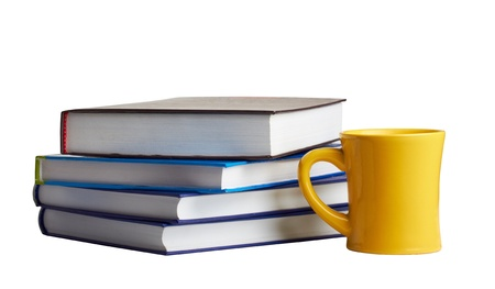 high school series: pile of books and a tea cup Stock Photo