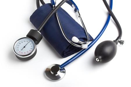 systolic: stethoscope and tonometer close-up on white