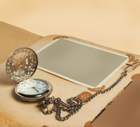 retro album page with vintage clock with chain Stock Photo - 14735692