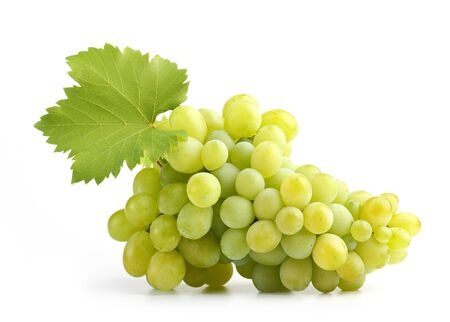 white grapes with leaf on white photo