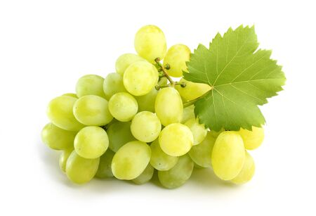 tasty white grapes with leaf on white Stock Photo