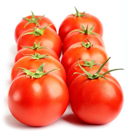 two rows of red tomatoes photo