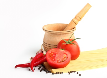 sause: ingredients for tomatoe sause and spagetti Stock Photo