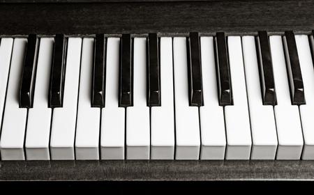 piano keys: black and whtie old piano keys  Stock Photo