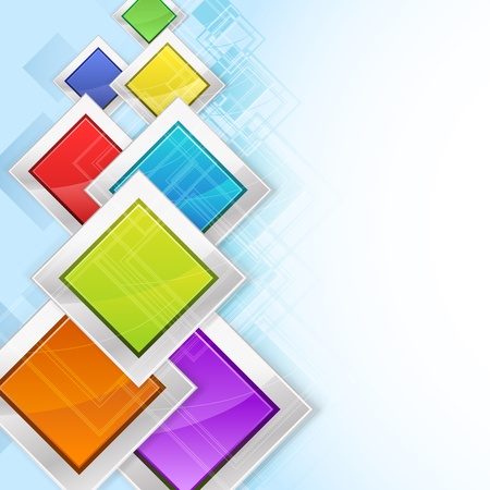 header image: abstract background with colorful rhombus in metallic frames Illustration