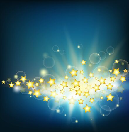 abstract background with rays and golden stars Vector