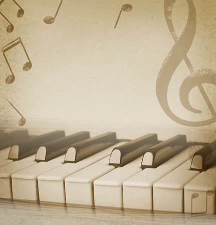 musical background: musical background with piano and musical notes