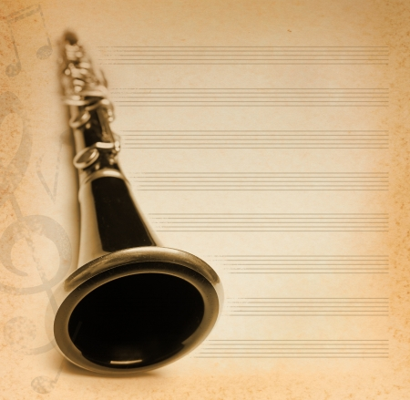 flute key: musical background with flute, key and notes
