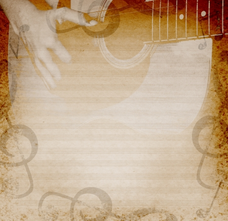 guitar background: musical background with playing guitar and musical notes Stock Photo