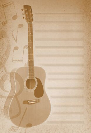 musical background with guitar and musical notes photo