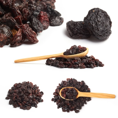 raisins: dark raisin collage with wooden spoon