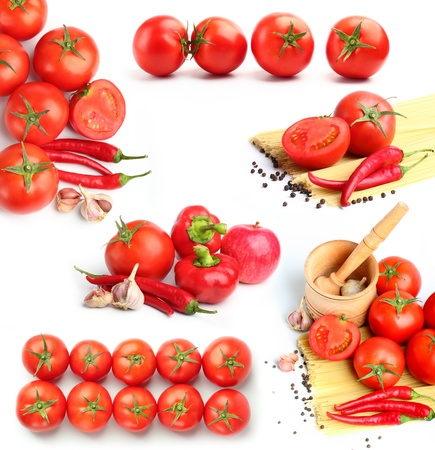 tomatoes, red peppers,spaghetti and spices collage photo