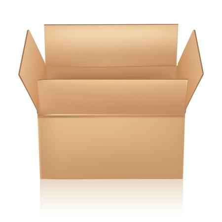 carton box: open carton box on white Illustration