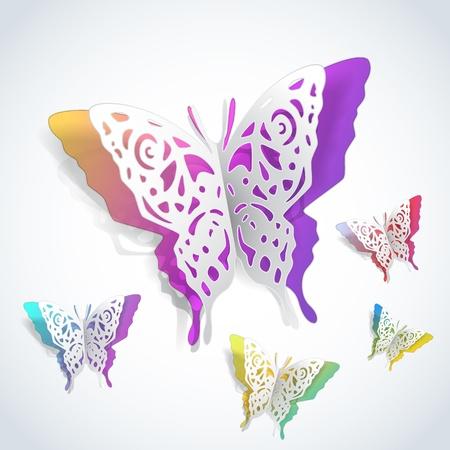 mariposas recorte de papel blanco