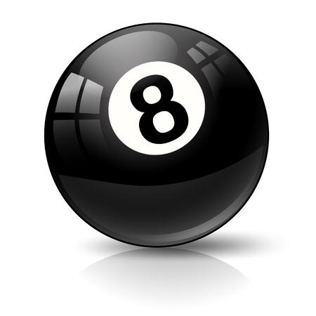 bola ocho: billar pool bola ocho en blanco
