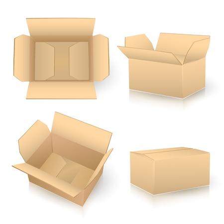 packer: set of carton boxes on white