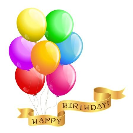 happy birthday balloons: happy birthday balloons with ribbon Illustration