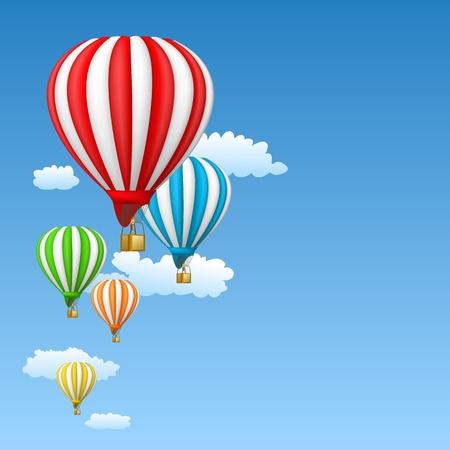 inflar: globos de aire caliente en el cielo
