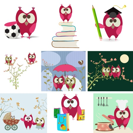 owl love story Vector