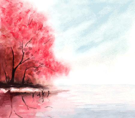 red trees: watercolor autumn background with red trees and lake water. vector illustration Illustration