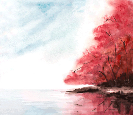 red trees: watercolor autumn background with red trees